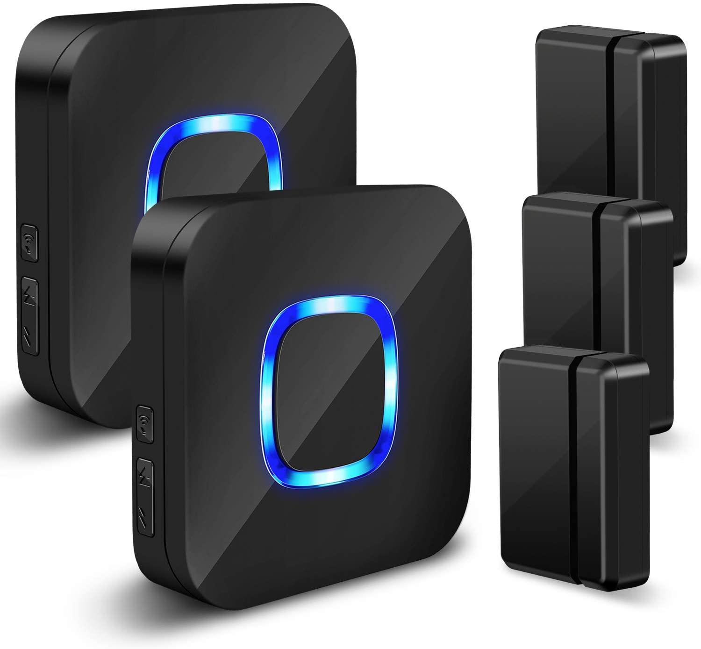 Wireless Door Chime Sensor Open - Door Sensor Alarm Kit with 600 FT Range, 5 Volume Levels, 58 Melodies, LED Indicator for Business/Home/Office/Stores