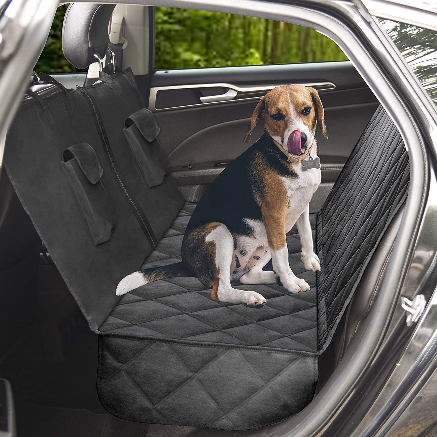 JACO ProtectPro Dog Car Seat Cover - Heavy Duty, Waterproof, and Scratch Proof Back Seat Protector - Travel Pet Hammock for Car, Truck, and SUV - Universal Fit