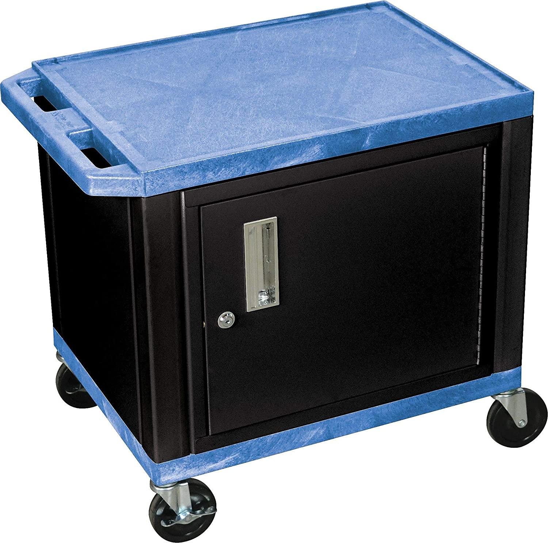 H Wilson 26 Inch H 2 Shelves Tuffy AV Cart W/Black Cabinet & Electrical Attachment, Blue