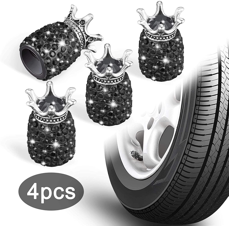 WINKA Valve Stem Caps, Fashion Crystal Crown Valve Stem Covers, Auto Car Accessories 4pcs Black