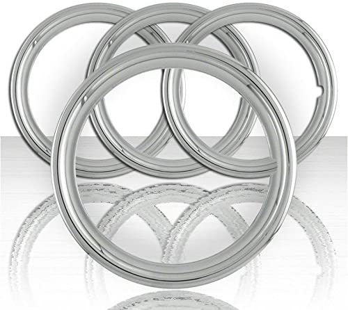 Upgrade Your Auto Set of Four 15' Polished Stainless Steel 1 1/2' Deep Wheel Trim Rings