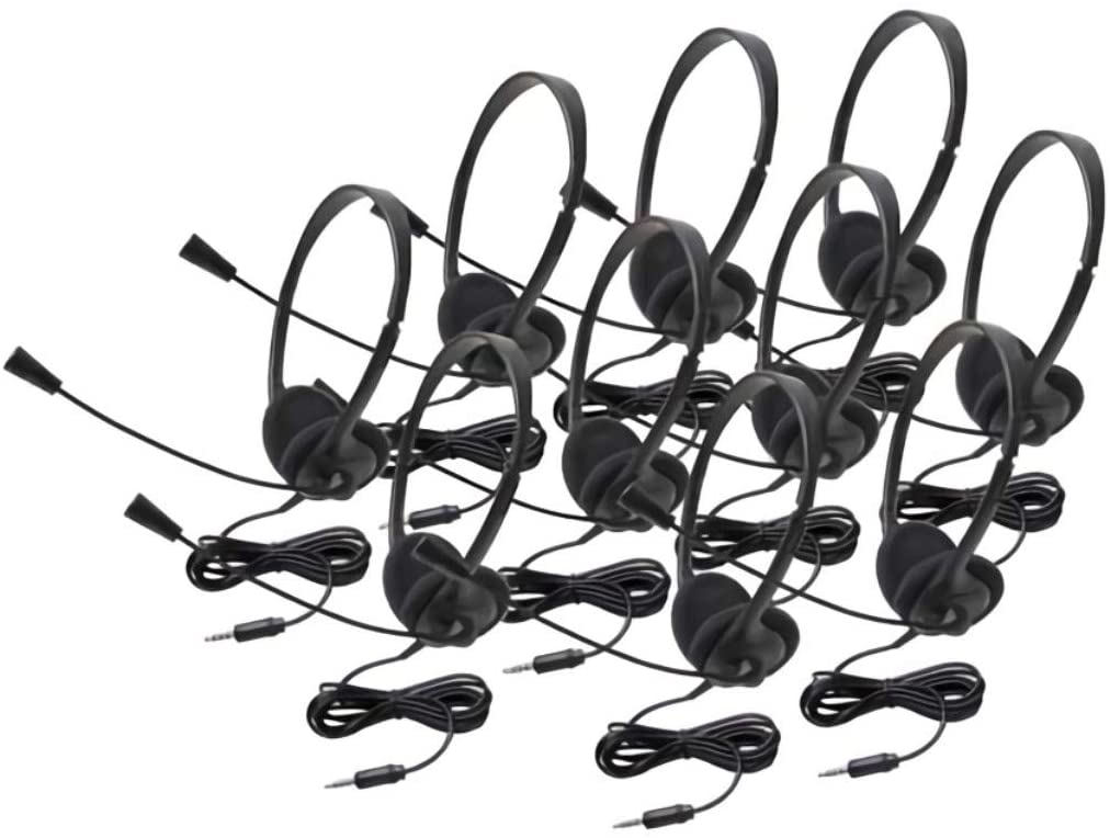 Califone 3065AVT-10L Lightweight Personal Multimedia Stereo Headset with to Go Plug (10-Pack), Black, Fully Adjustable Headband fits All Students, Recessed Wiring Resists Prying Fingers