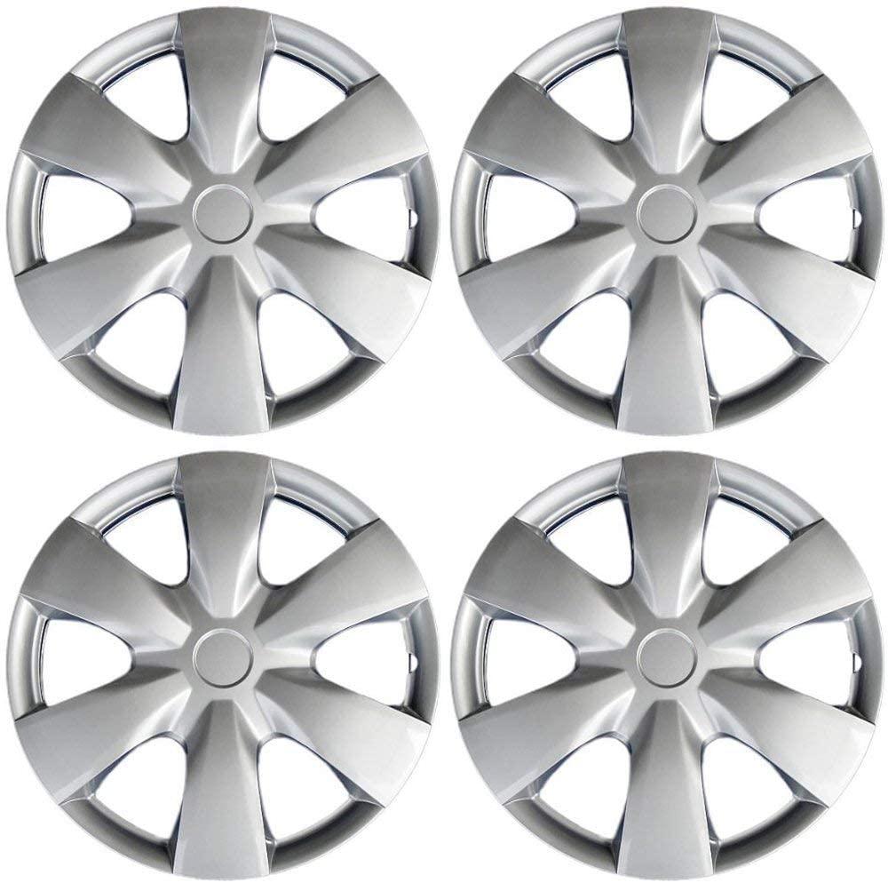 OxGord Hub-caps for 02-05 Hyundai Sonata (Pack of 4) Wheel Covers 15 inch Snap On Silver