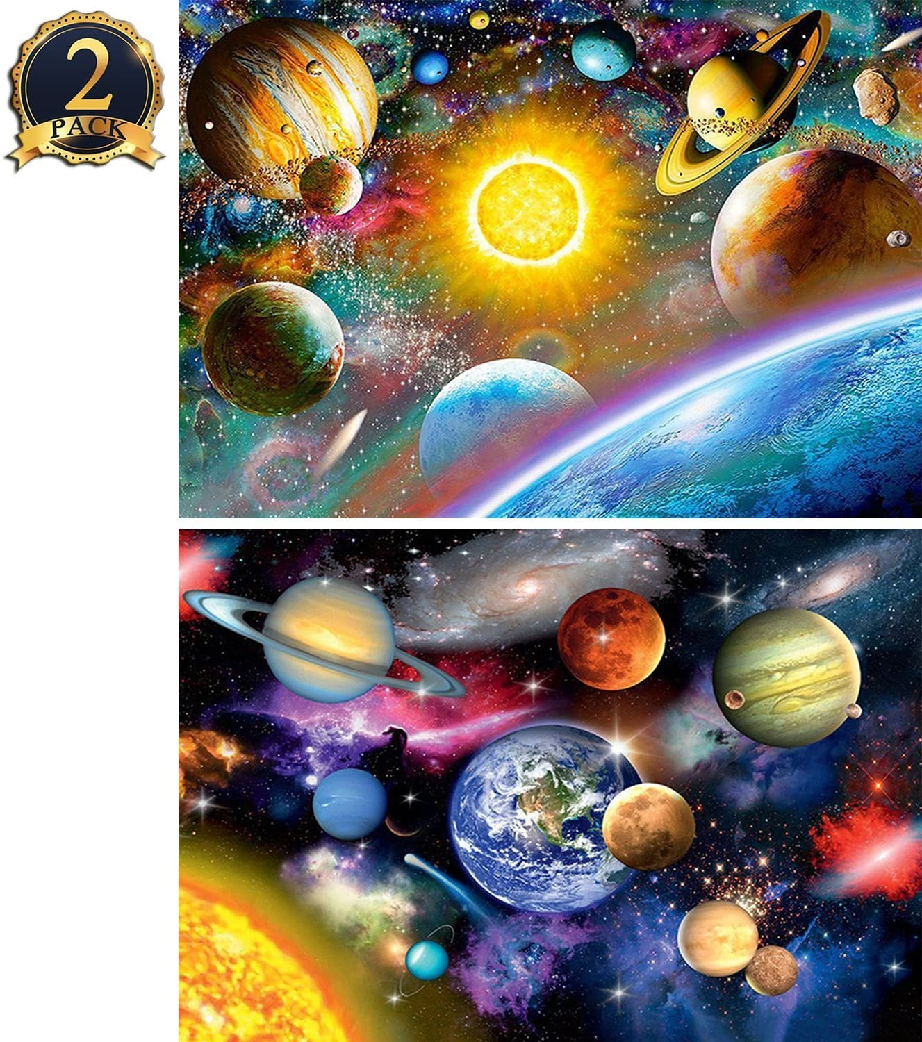 5D Diamond Painting Kit DIY Full Drill Planet and Universe Arts Crafts 2 Pack by Yomiie, Solar System (12x16inch/30x40cm) & Space Stars (12x16inch/30x40cm) a001