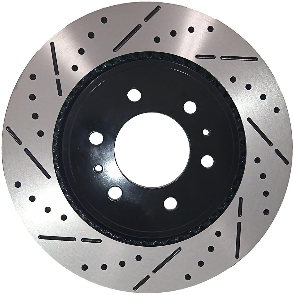 [Front E-Coat Drill&Slot Brake Rotors Ceramic Pads] Fit 08-14 Toyota FJ Cruiser