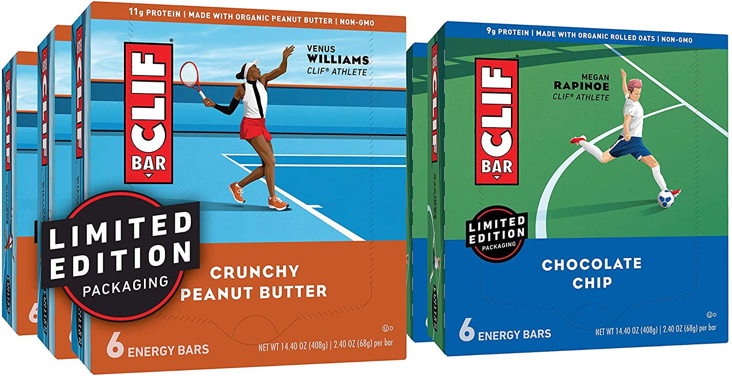 CLIF BAR - Energy Bars – Care Package - Chocolate Chip and Crunchy Peanut Butter - (2.4 oz, 6 Packs, Total 36 Bars) Packaging May Vary