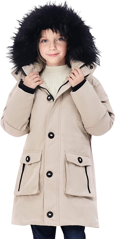 maoo garden Girls Long Heavyweight Snow Winter Coat Waterproof Cotton Fur Hooded Parka Jacket