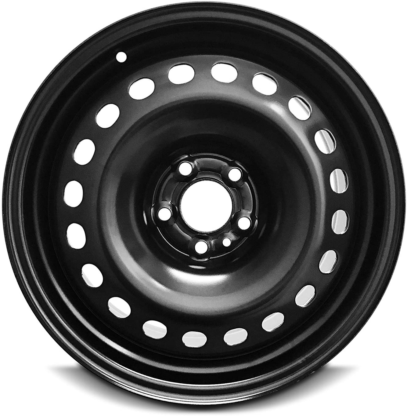 Road Ready Car Wheel For 2015-2017 Chrysler 200 17 Inch 5 Lug Black Steel Rim Fits R17 Tire - Exact OEM Replacement - Full-Size Spare