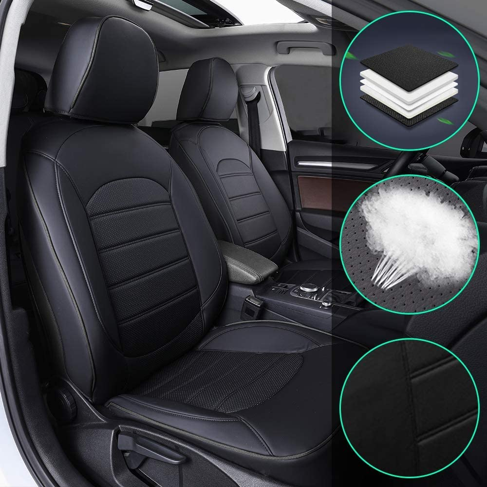 Muchkey Luxury Leather seat Covers for Infiniti Q50 5-seat 2014-2017 Full Set Front+Rear Cushion Airbag Compatible, Black