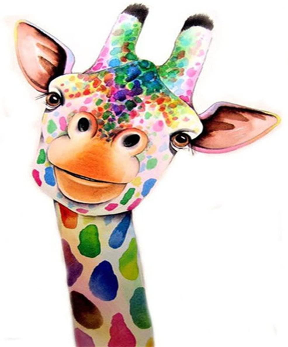 EOBROMD 5D DIY Diamond Painting, Embroidery Cross Stitch DIY Art Craft Home Wall Decor, Colored Giraffe, 12x16inch