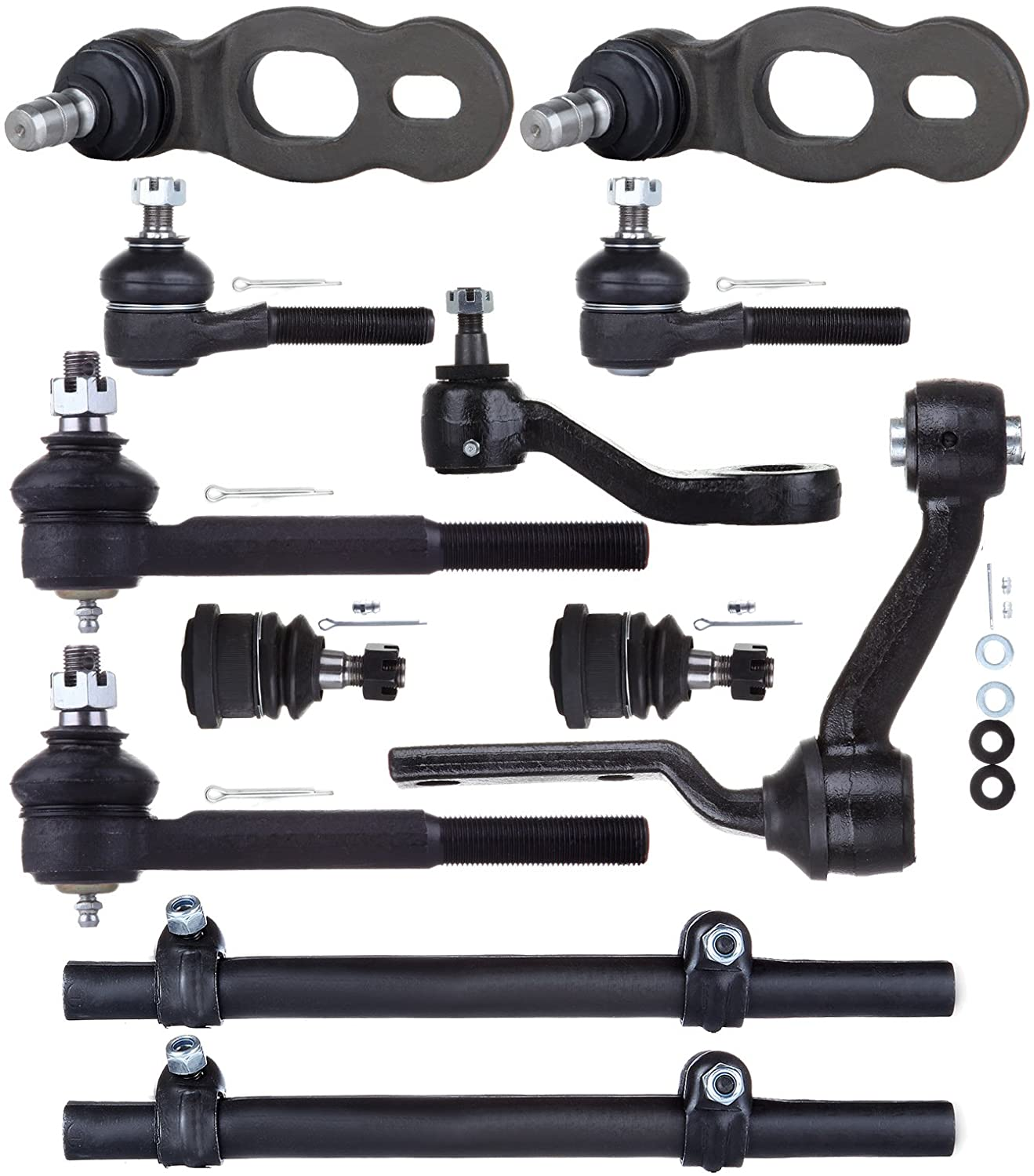 AINTIER Suspension Set of 12 Tie Rod Lower Ball Joint Adjusting Sleeve Ball Joint Idler Arm Pitman Arm fit for 1995-2002 for Ford Crown Victoria with OEM K8678 K8685 K8688 ES3494 ES3495 K8283 ES3311S