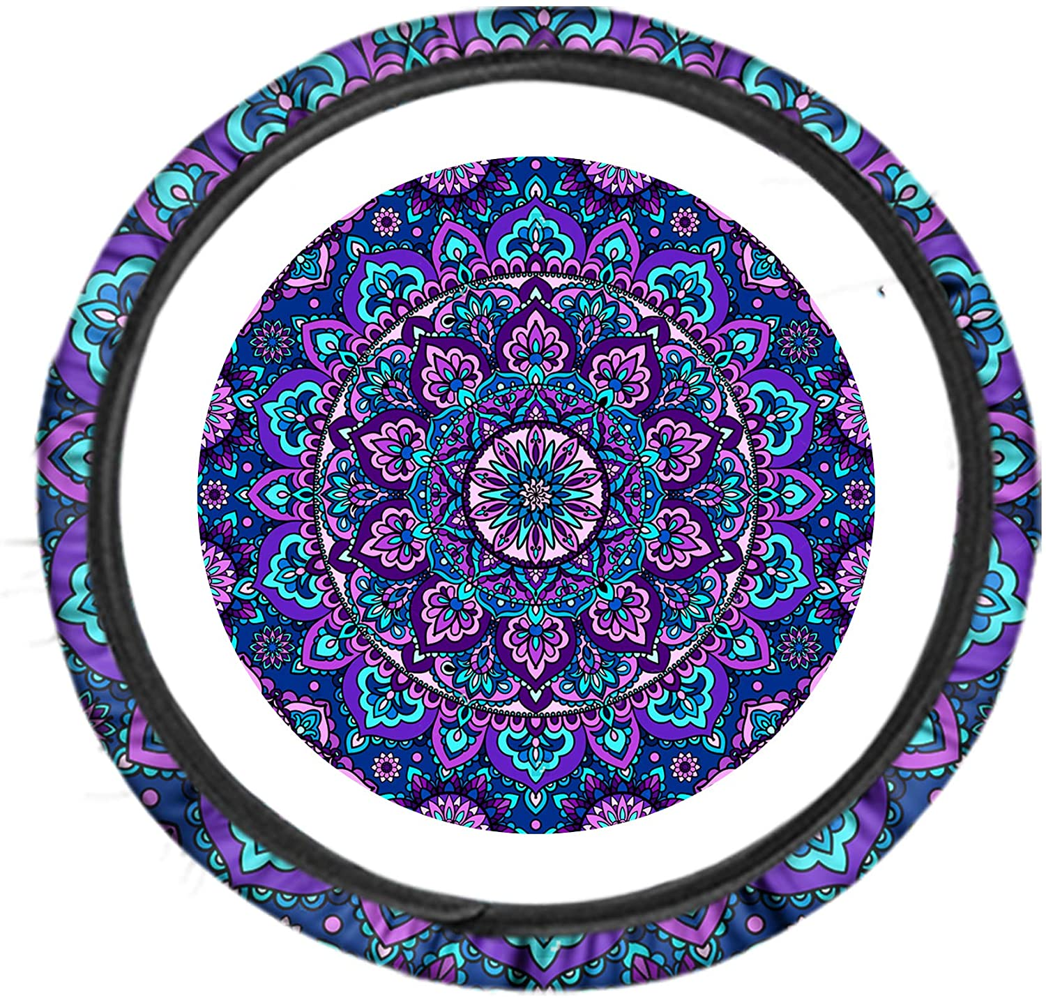 Youngerbaby Mandala Printed Steering Wheel Cover Stretch-on Fabric Anti-Slip and Sweat-Absorption 15 Inch Car Wrap Cover Universal Fit (Mandala 1)
