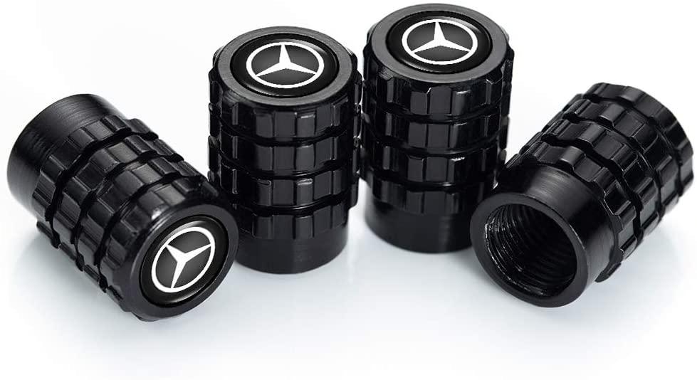 OBA PINGIGN 4 Pcs Metal Car Wheel Tire Valve Stem Caps for Mercedes Benz C E S M CLS CLK GLK GL A B AMG GLS GLE Logo Styling Decoration Accessories.
