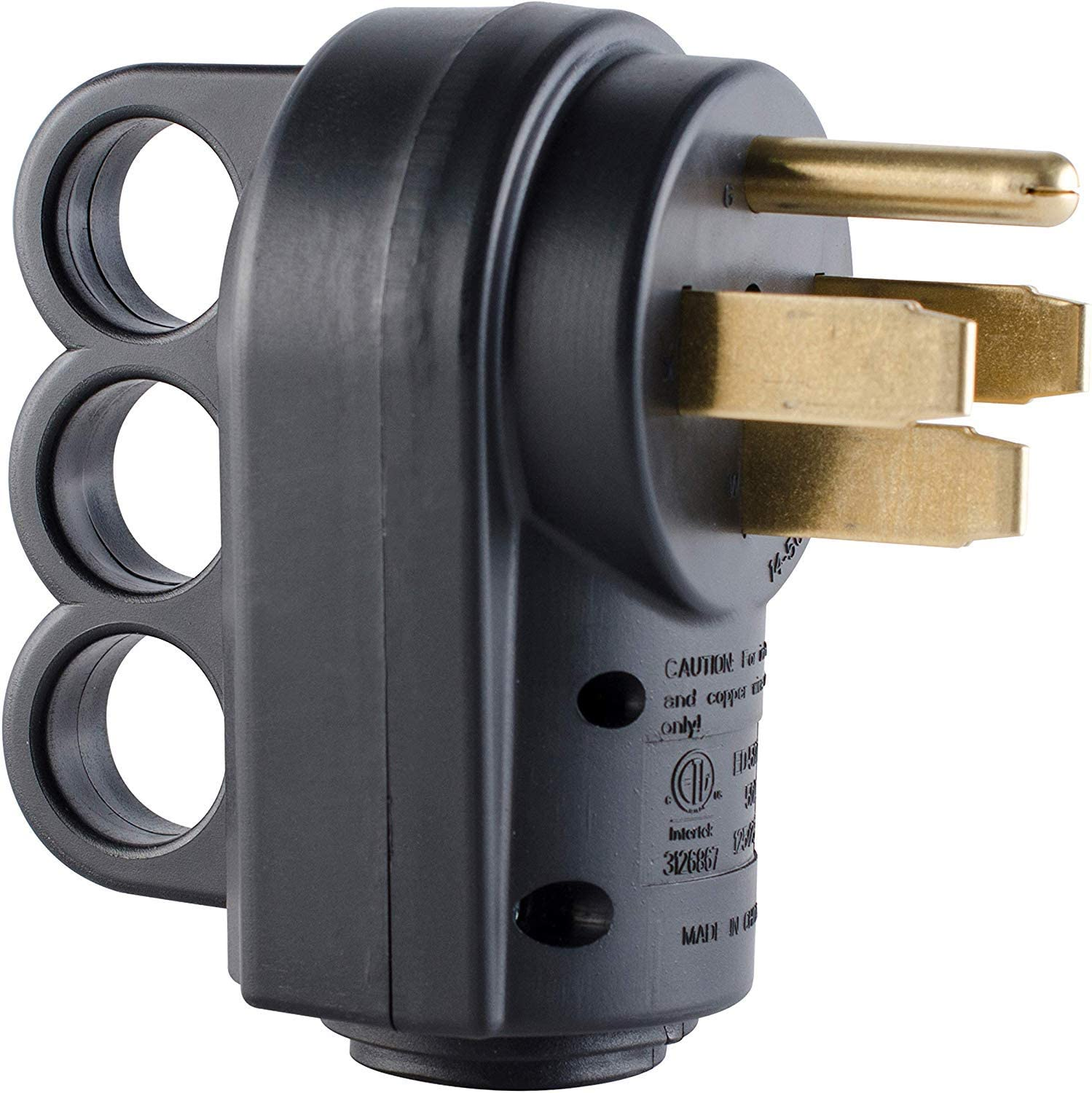 RVGUARD 50AMP Male(14-50P)Replacement Plug, 125/250V, with Finger Grip (Black)