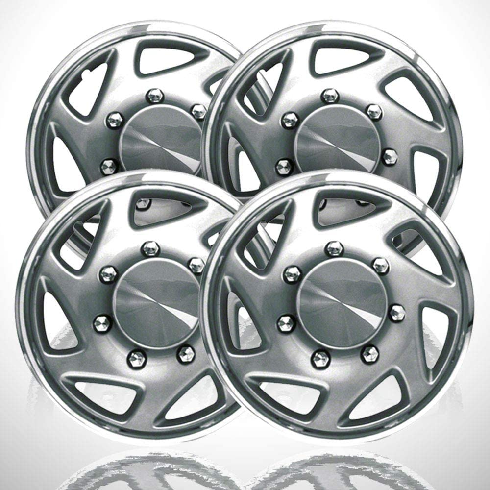 4-Pack of 15' Push-on Silver w/Chrome Hubcaps