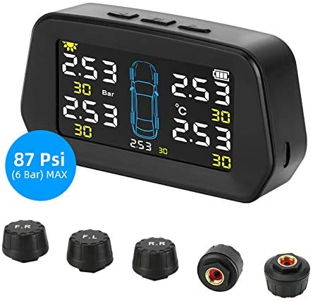 Jansite 5 External Sensors Wireless Tire Pressure Monitoring System Universal TPMS with Big Screen and 6 Alarm Modes Solar Power Charge Real-Time Display Tires' Pressure and Temperature (22-87 Psi)