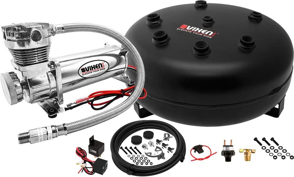 Vixen Air Suspension Kit for Truck/Car Bag/Air Ride/Spring. On Board System- 200psi Compressor, 4 Gallon Tank. for Boat Lift,Towing,Lowering,Leveling Bags,Onboard Train Horn,Semi/SUV VXO4840C
