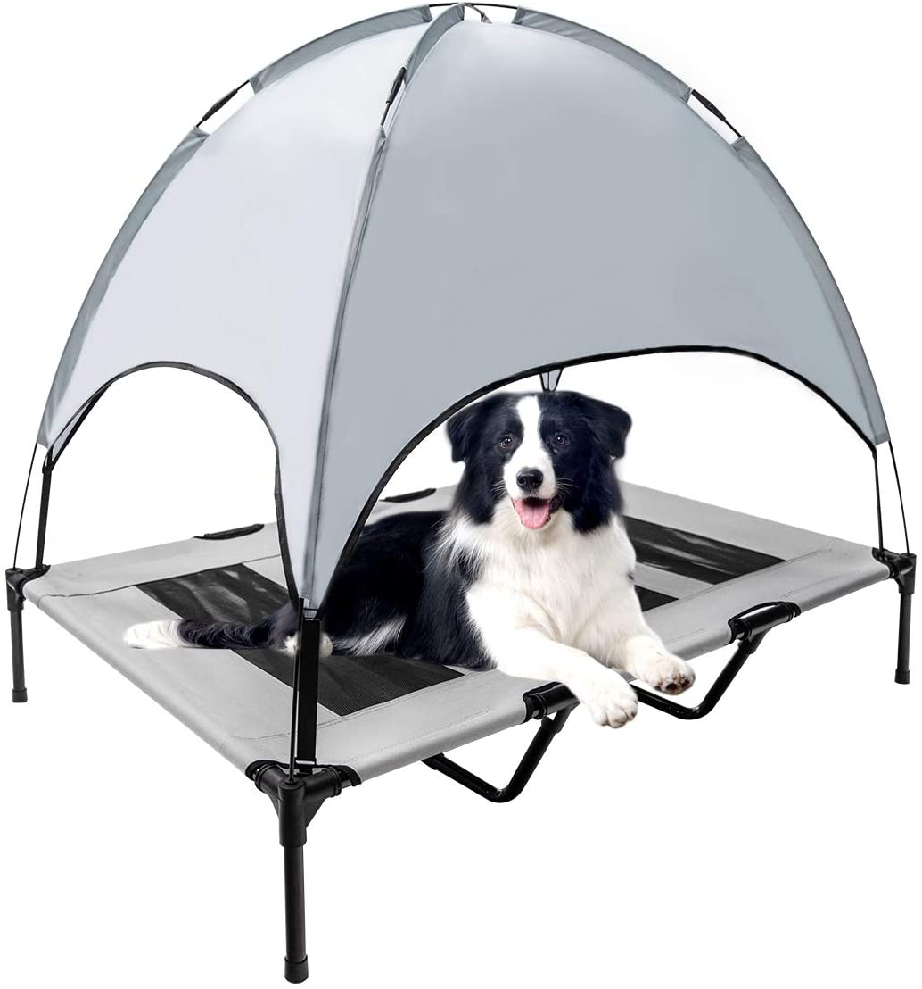 WiseWater Dog Bed with Removable Canopy, X Large Elevated Pet Cot, Durable Pet Bed with Travel Bag, Portable for Camping, Traveling, Beach, Training, Indoor and Out Door Use