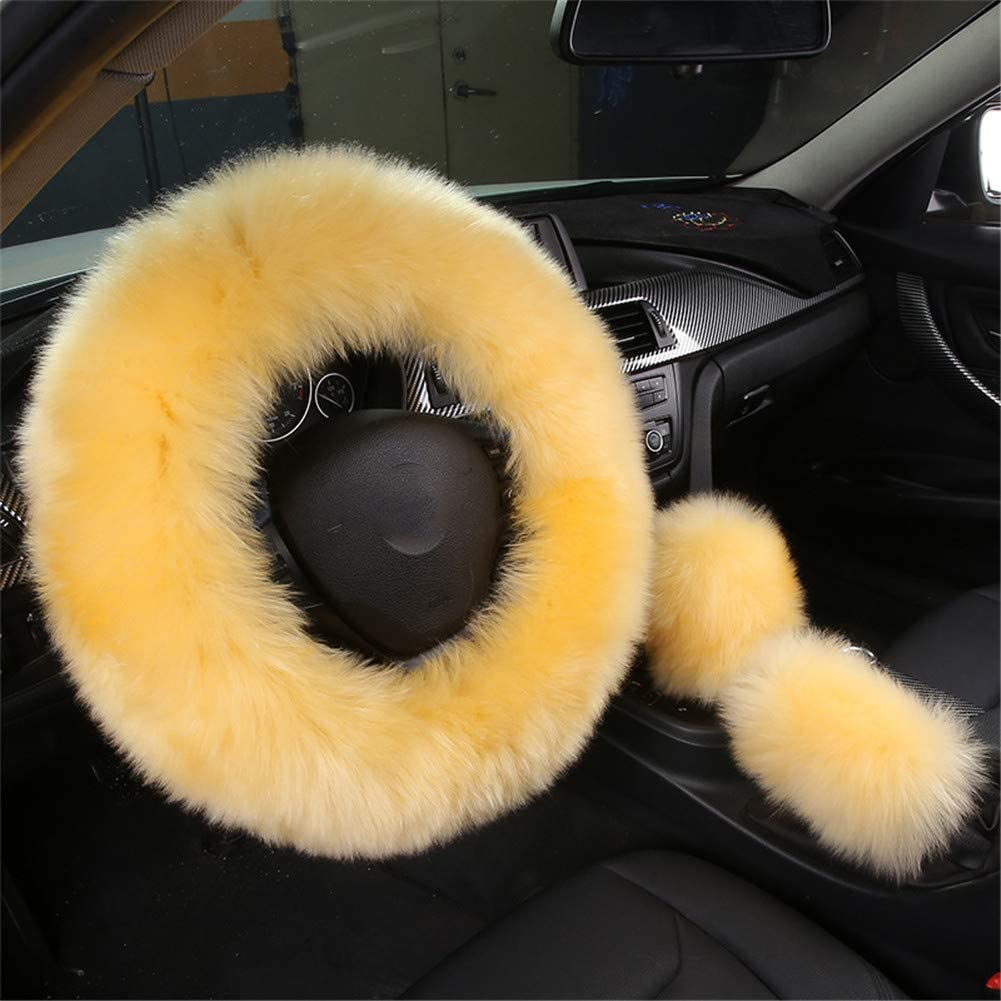 Ranxizy Cozy Australia Pure Wool Steering Wheel Cover with Fuzzy Handbrake Cover and Gear Shift Cover for Women/Girls/Ladies,Universal Fit,1 Set 3 Pcs(Yellow)