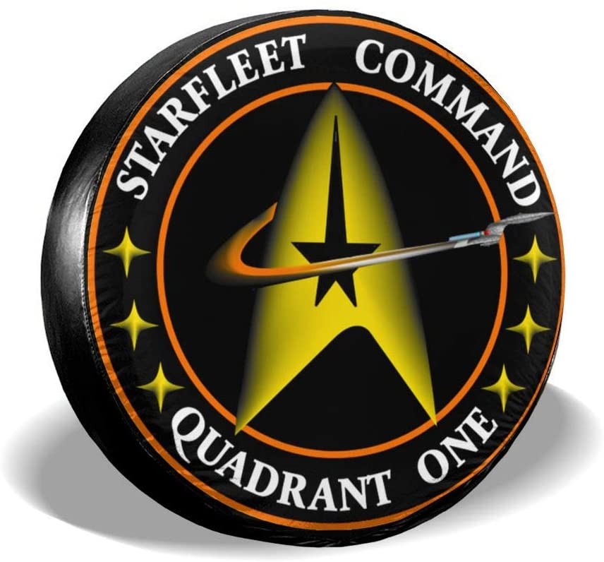 Chapman23Becky Melville Starfleet Command Symbol Spare Tire Cover Polyester Universal Dust-Proof Waterproof Wheel Covers for Trailer RV SUV Truck and Many Vehicles (14