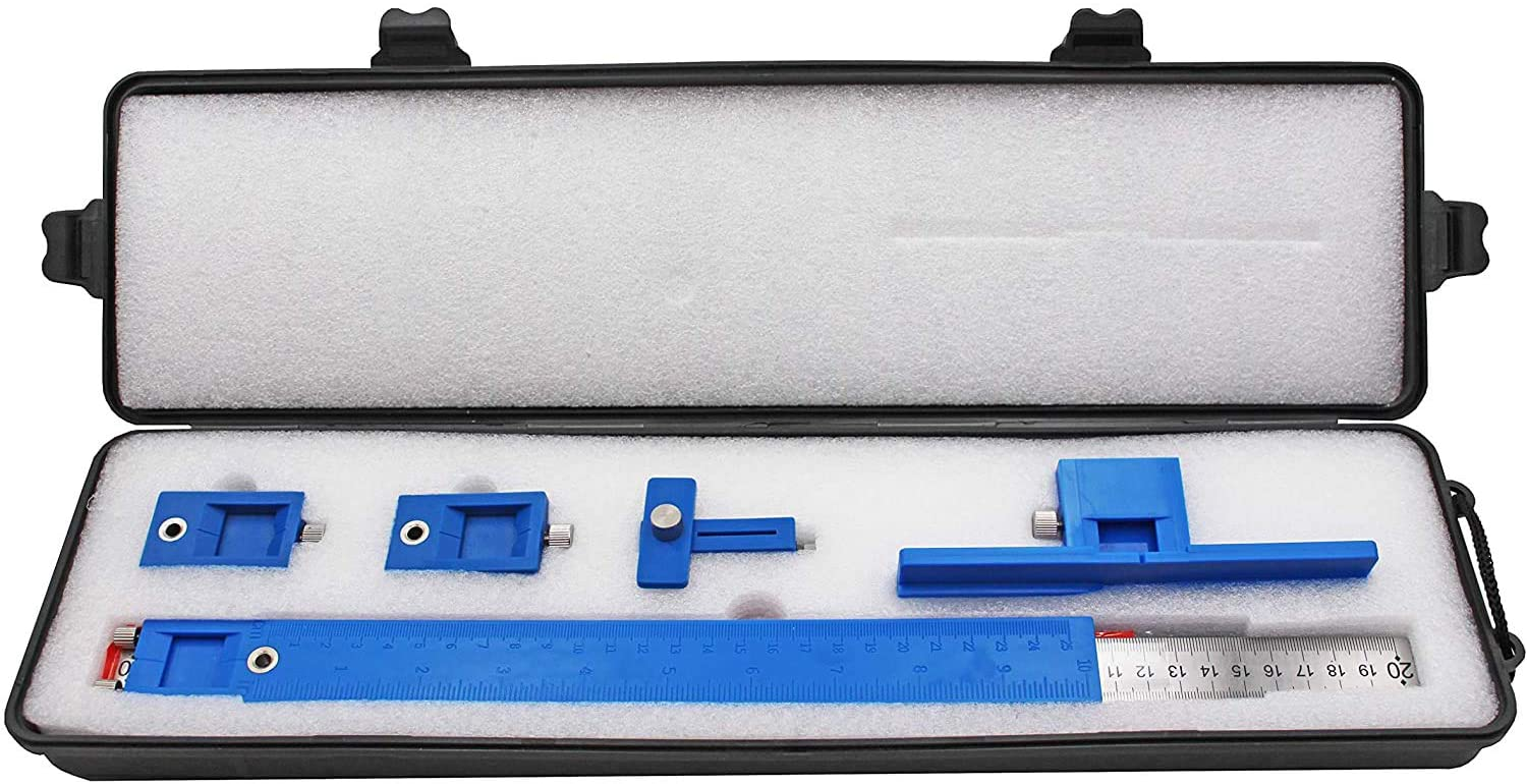 Power Tools Punch Locator, Drill Guide Sleeve Cabinet Hardware Jig for Installation of Handles, Knobs on Doors and Drawer Pull-Blue Plastic Box