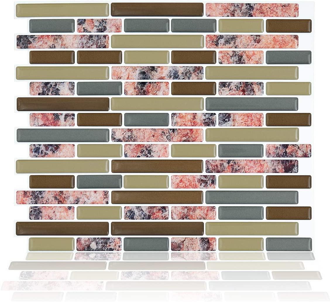 Peel and Stick Backsplash, Backsplash Tile for Kitchen Peel and Stick, Granite Texture Design Self Adhesive Removable Backsplash Tiles (Red-Brown, 11