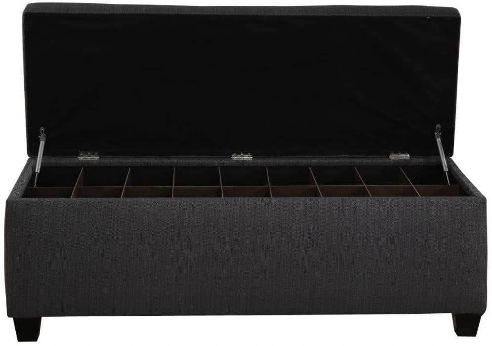 Sole Designs The Sole Secret Shoe Storage Bench - Candice Charcoal Large