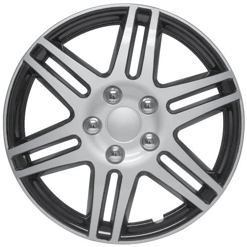 RTX, ABS hubcaps, Black & Silver, 14'', Set of Four, Plastic Clips 80-1414