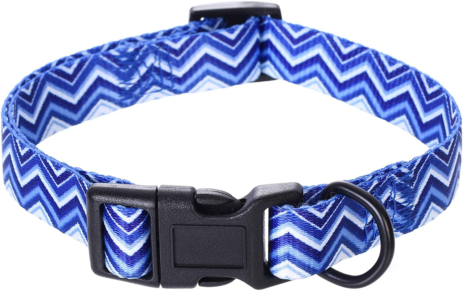 Mile High Life | Geometric Ocean Wavy Pattern | Soft Poly Cotton Fabric | Black Buckle Dog Collar with D Ring| We Donate to Dog Rescues