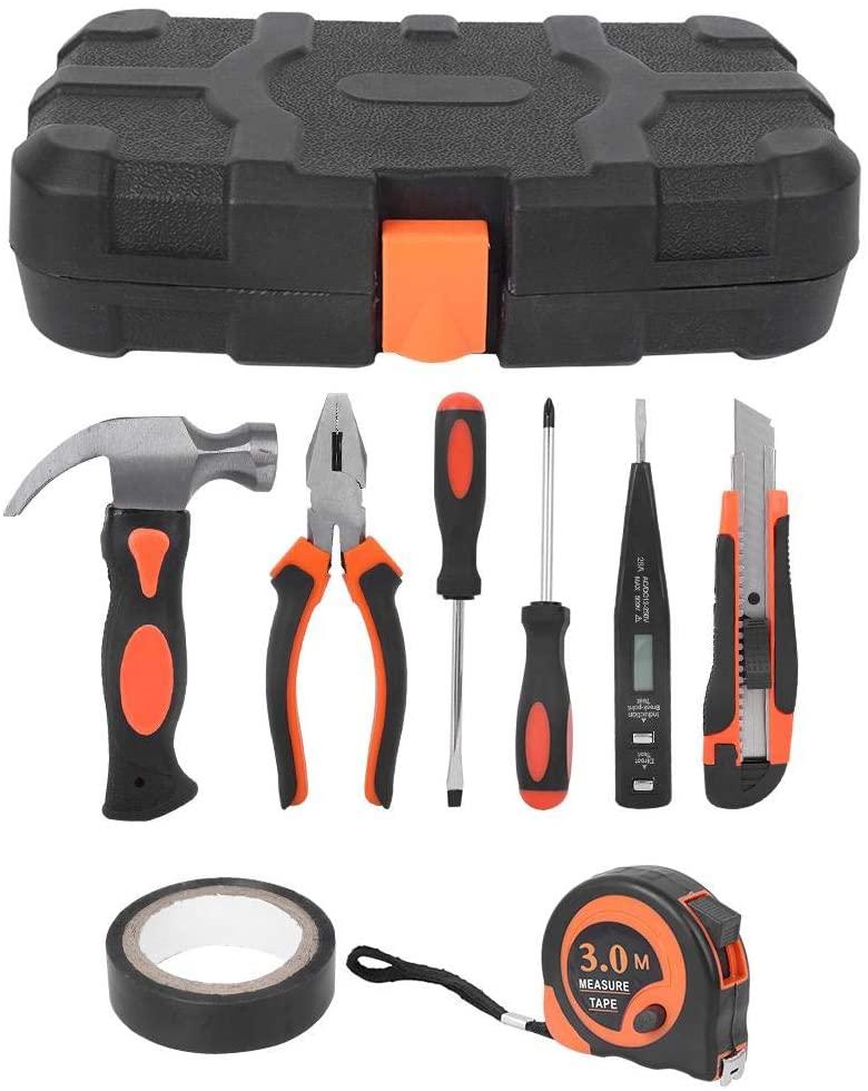 Yosoo123 Hardware Tools Kit, 9Pcs/Set Household Hardware Repair Tools Kit Hand Tool Set DIY Pliers Screwdriver Electrical Tape Hand Tools with Sturdy Tool Box Storage Case