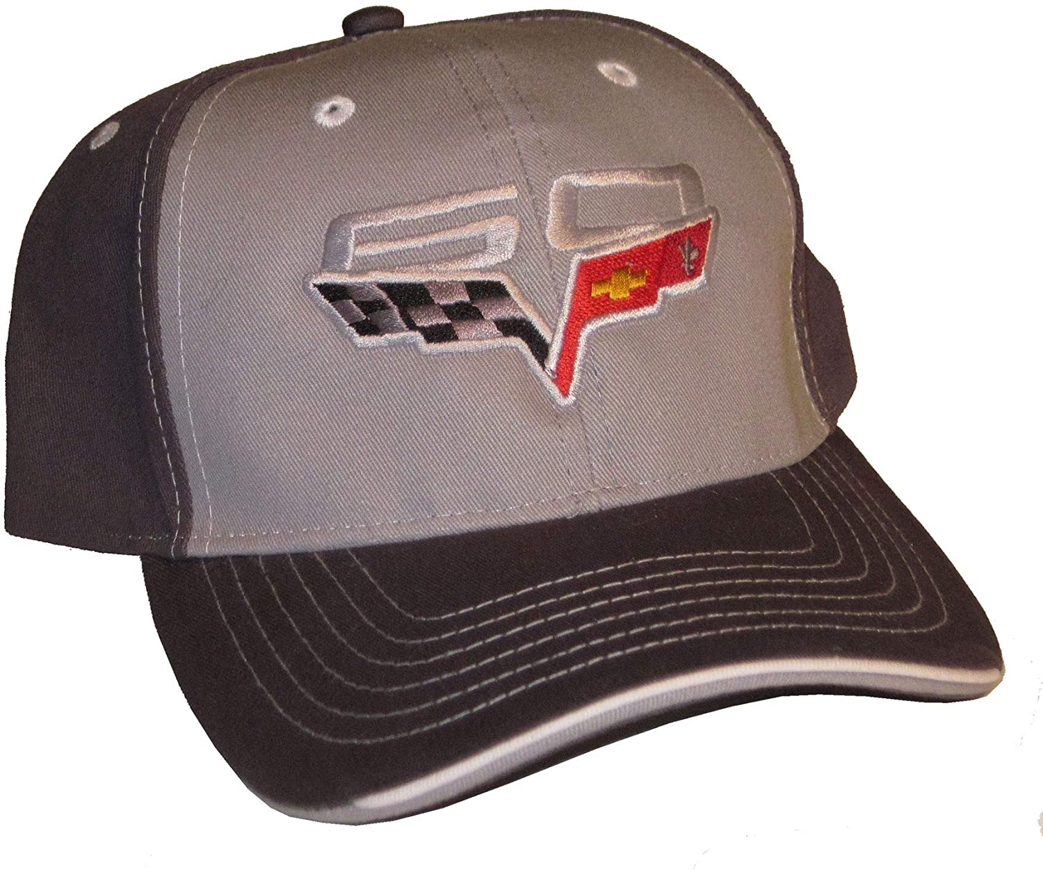 Gregs Automotive Compatible Corvette 60th Anniversary Gray Logo Hat Cap Chevrolet - Bundle with Driving Style Decal