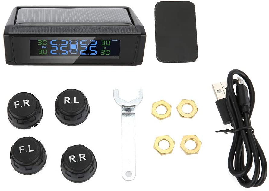 TPMS Tyre Pressure Monitoring System, Wireless Solar TPMS Tire Pressure Monitoring System LCD Monitor Alarm with 4 External Sensors