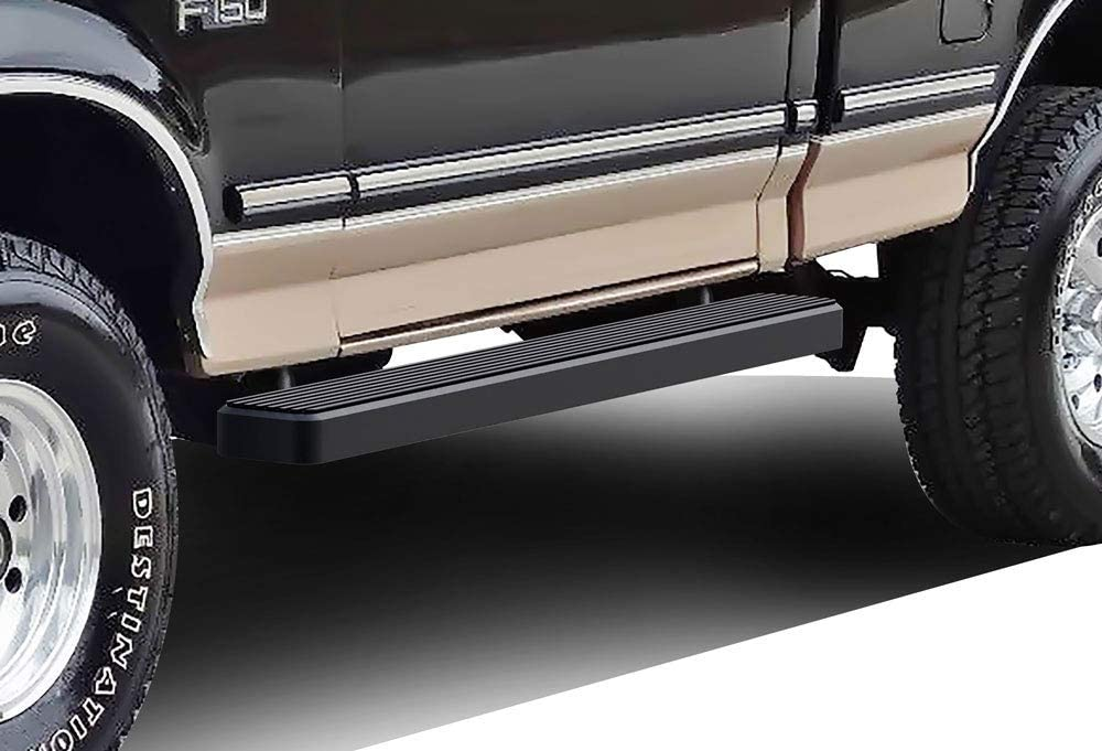 APS iBoard Running Boards (Nerf Bars Side Steps) Compatible with Ford F-Series Bronco 1980-1996 Regular Cab (Will Not Fit Factory Reinforced Heavy Duty Frames) (Black Powder Coated 5in)