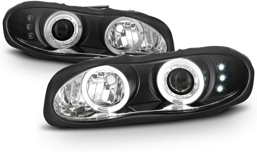 ACANII - For 1998-2002 Chevy Camaro LED Halo Ring Black Projector Headlights Headlamps Assembly, Driver & Passenger Side