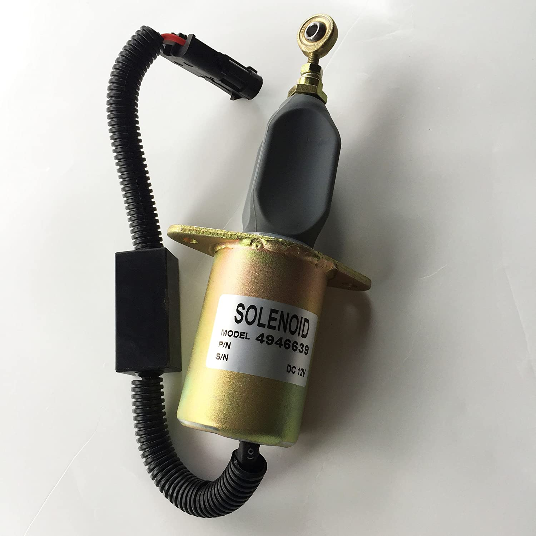 Blueview 12V shutdown stop solenoid valve 4946639 for Cummins 4B 6B 6C Komatsu 8.3L