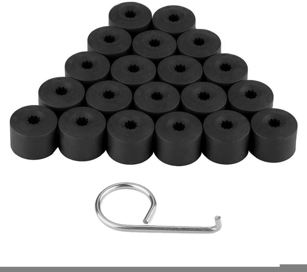 Wheel Nut Cover, 20pcs 17mm Nut Car Wheel Auto Hub Screw Protection Anti-theft Cover Cap (Black)