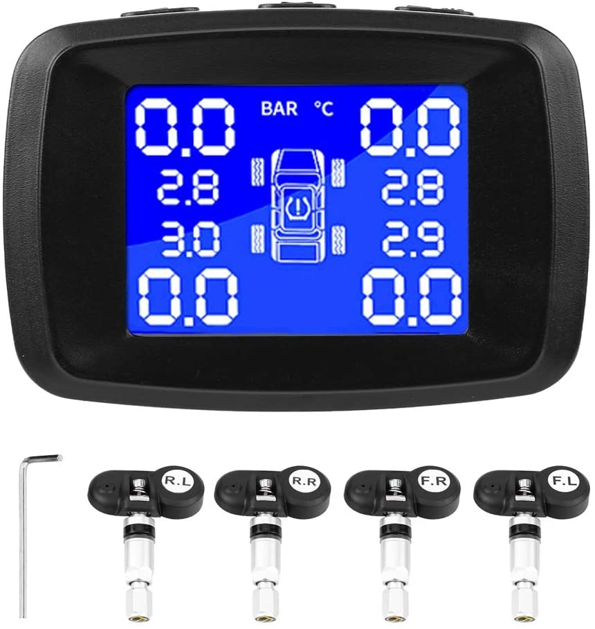 Tyre Pressure Monitor, Car ABS Tyre Pressure Monitoring System Cigarette Lighter LCD Monitor With 4 Internal Sensors, Black