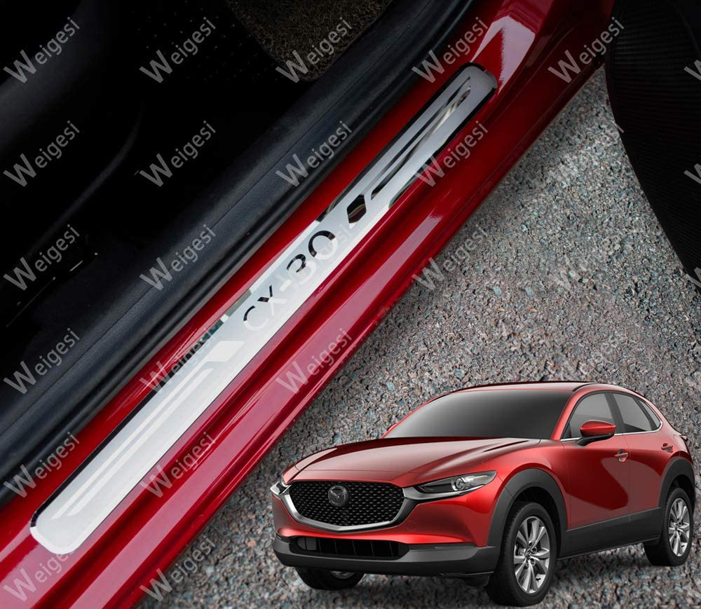 Weigesi Steel Door Sills Scuff Plate Cover Door Sill Protector Cover Trim 4pcs For Mazda CX-30 2019 2020