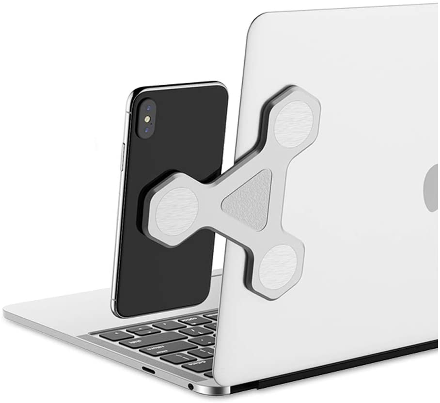 xcivi Monitor Side Mount Magnetic Bracket Laptop Duo Screen Mount - Mount Your Smartphone or Tablet to Your Laptop and Monitor (Silver)