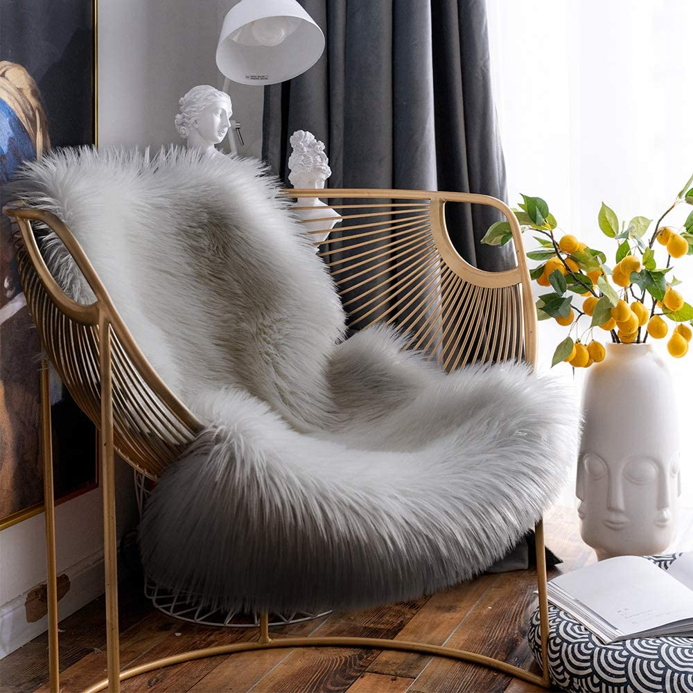 Dotteen Super Soft Premium Faux Sheepskin Fur Sofa Chair Cover Plush Seat Cushion Pad Shaggy Area Rugs for Bedroom Floor, 2ft x 3ft, Grey