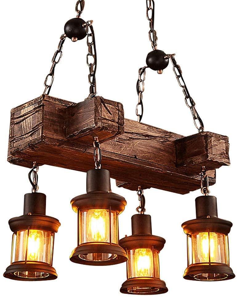 Berlato Farmhouse Chandelier Industrial Vintage Wooden Hanging Pendant Light Retro Loft Lantern Chandelier 4 Lights Suspension Lighting Fixture for Coffee Shop Restaurant (A)