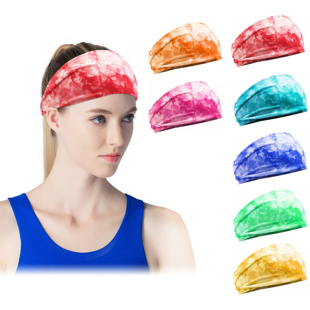 pengxiaomei 7 Pcs Headband for Women Girls, Yoga Sports Headband Athletic Sweat Headwrap Elastic Non Slip Working out Hair Band