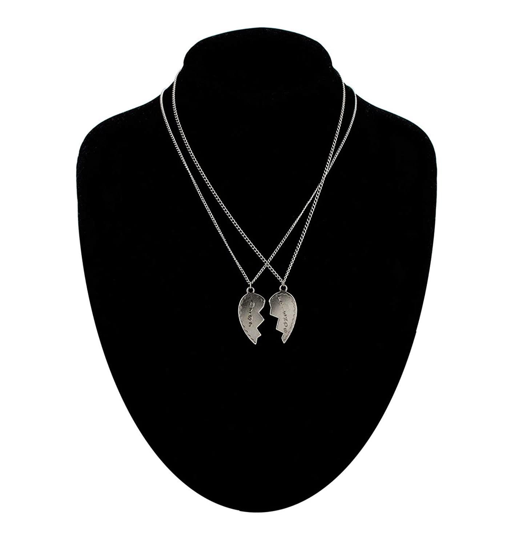 Bff Broken Heart 2 Necklace Best Friends Pendant Silver Tone Box Necklace For Women