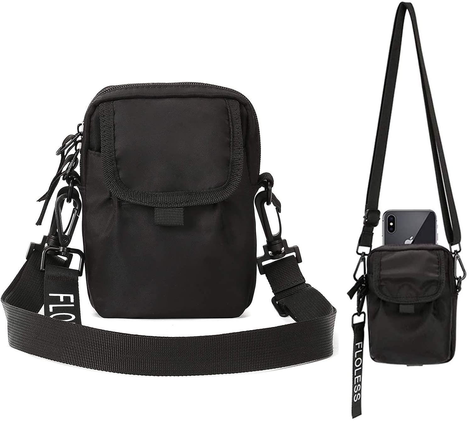 Small Black Crossbody Shoulder Side Bag for Men Women Mini Satchel Bag Messenger Bag Travel Passport Bag,Tactical Pouch Waist Bag Belt Bag Purse for Men Women Cell Phone Pouch Purse Neck Wallet