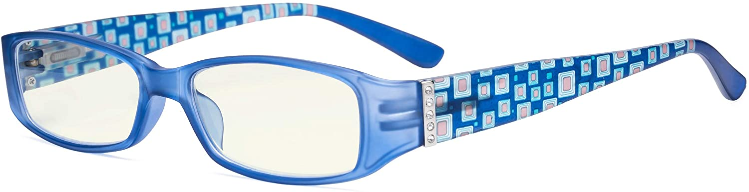 Eyekepper Blue Light Filter Glasses Women - Blocking UV Rays Anti Digital Glare Computer Reading Glasses with Pattern Arms and Crystals,Matte Blue +3.00