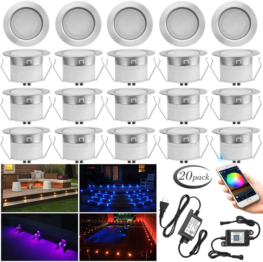 Deck Lighting Kit, 20pcs Φ1.77 Bluetooth RGBW Led Low Voltage Recessed Deck Lights In-ground Floor Lighting Waterproof Lamp for Indoor Outdoor Yard Path Stair Landscape Decor