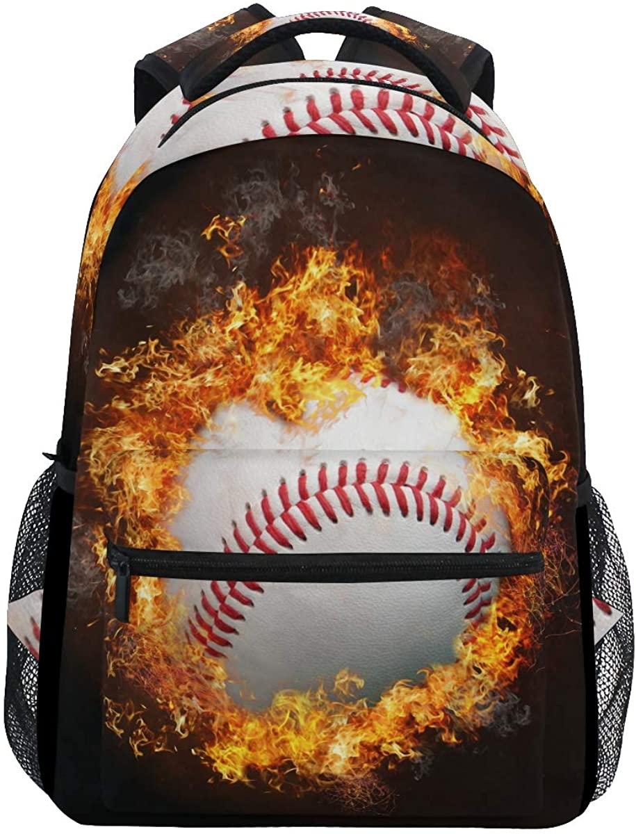 EELa Baseball Fire Backpack Resistant Casual Hiking Travel Camping Daypack College Backpack School Bookbag Laptop Bag