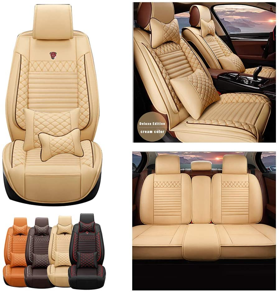 Jiahe Car Seat Covers for Jeep Grand Cherokee 5seat Full Set Seat Protector Luxury (with 2 x Headrest & 2 x Waistrest) Artificial Leather Front & Rear Set Universal Beige