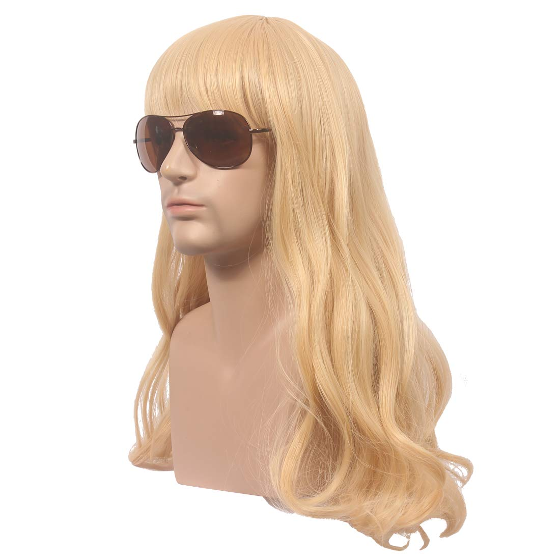 wildcos Long Blonde Curly Cosplay Wig for Men