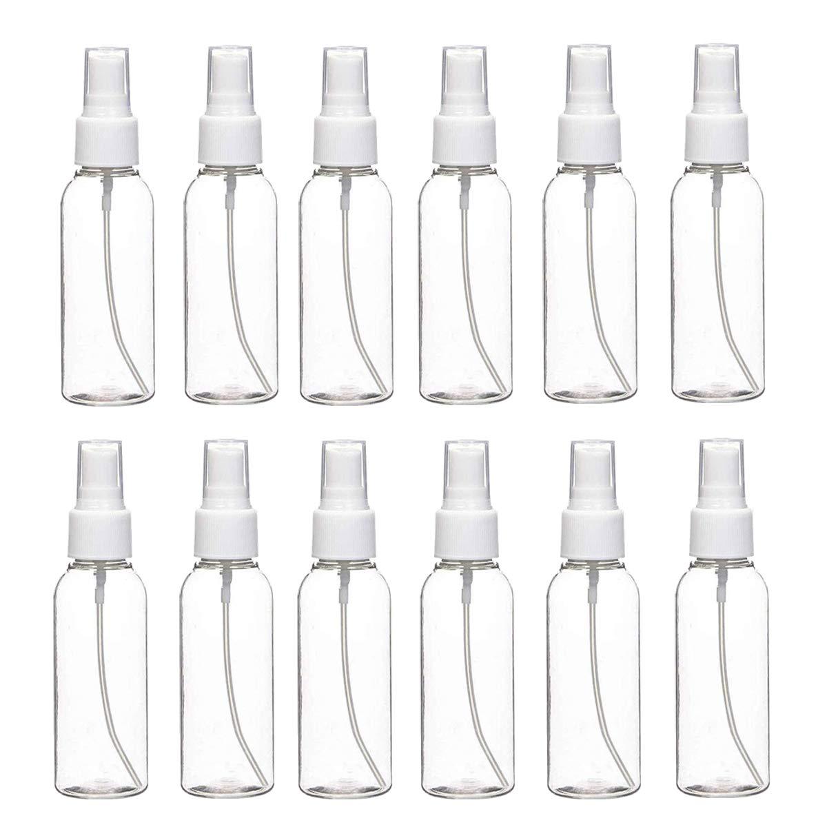 Spray Bottle, BYWORLD 3.4oz/100ml 12 Pack Plastic Spray Bottle Travel Bottles, Empty Spray Bottles for Travel, Business, Home and Outdoor, Fine Mist Spray Bottles